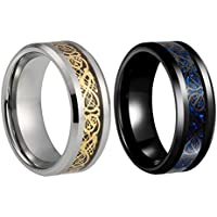 Sexbay Tungsten Ring for Mens Women Tungsten Carbide Wedding Band Dragon Ring 8mm Gold Celtic | Blue Carbon Fiber Jewelry Comfort Fit