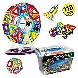 マグプレイヤー マグフォーマー ボックスケースセット くるま・観覧車・人形パーツ・はめ込みブロック付属セット 創造力を育てる知育玩具 収納ケース・ガイドブック付き ブルーケース 120ピース