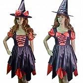 ハロウィン パーティー コスプレ 魔女 小悪魔 衣装 ウイッチ フレアーワンピース とんがり帽子 大きいリボン セット 裾アシメトリー 赤 0476 M~Lサイズ