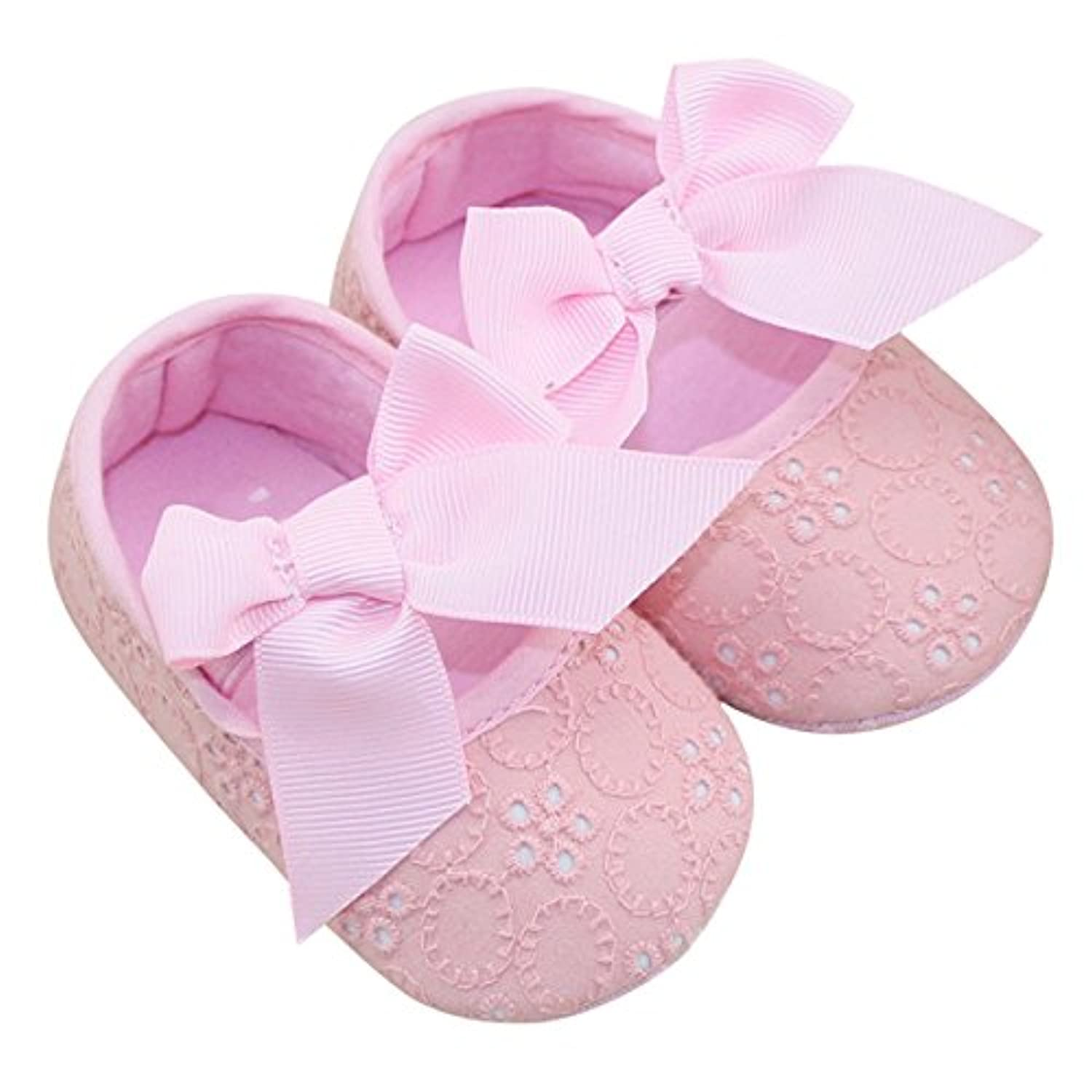 Aivtalk Toddler Baby Girls Princess Bowknot Ribbon Soft Sole Mary Jane Moccasins Prewalker Crib Shoes - Pink 13cm...