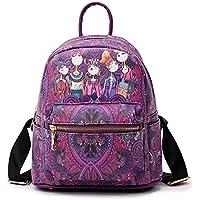 Fanspack Women's PU Leather Backpack Girls Printing School Backpack Travel Rucksack Bookbag
