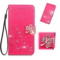 Fujitsu F-01L Wallet Case, WVYMX 3D Bling Flower PU Leather Case Shock-Absorption Flexible Cell Phone Soft Full-Body Protective Cover Case for Fujitsu F-01L Rose