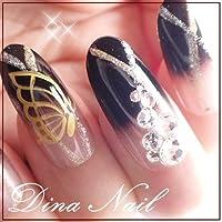 DINAネイル 和風ブラックグラデ金蝶  レギュラーオーバルLL(03246番) ネイルチップ