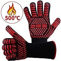 耐熱グローブ バーベキューグローブ クッキンググローブ 耐熱 手袋 最高耐熱温度500℃ 滑り止め 左右兼用 着脱簡単 5本指グローブ 調理道具 bbq 電子レンジ オーブン に最適 2枚セット