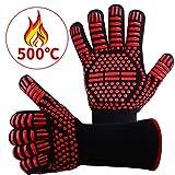 耐熱グローブ バーベキューグローブ クッキンググローブ 耐熱 手袋 最高耐熱温度500℃ 滑り止め 左右兼用 着脱簡単 洗濯可能 5本指グローブ 調理道具 bbq 電子レンジ オーブン に最適 2枚セット