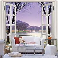 Wxmca 紫色のフレームウィンドウ風景3 D写真壁画用リビングルームと寝具部屋3 D壁の壁画フレスコ画家の装飾-400X280Cm