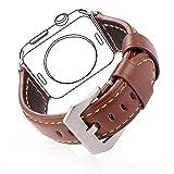 [バンドマックス]Bandmax Apple Watch Band 42mm レザー アップルウオッチ バンド 本革 ベルト 留め金 ブラウン[APB2220]