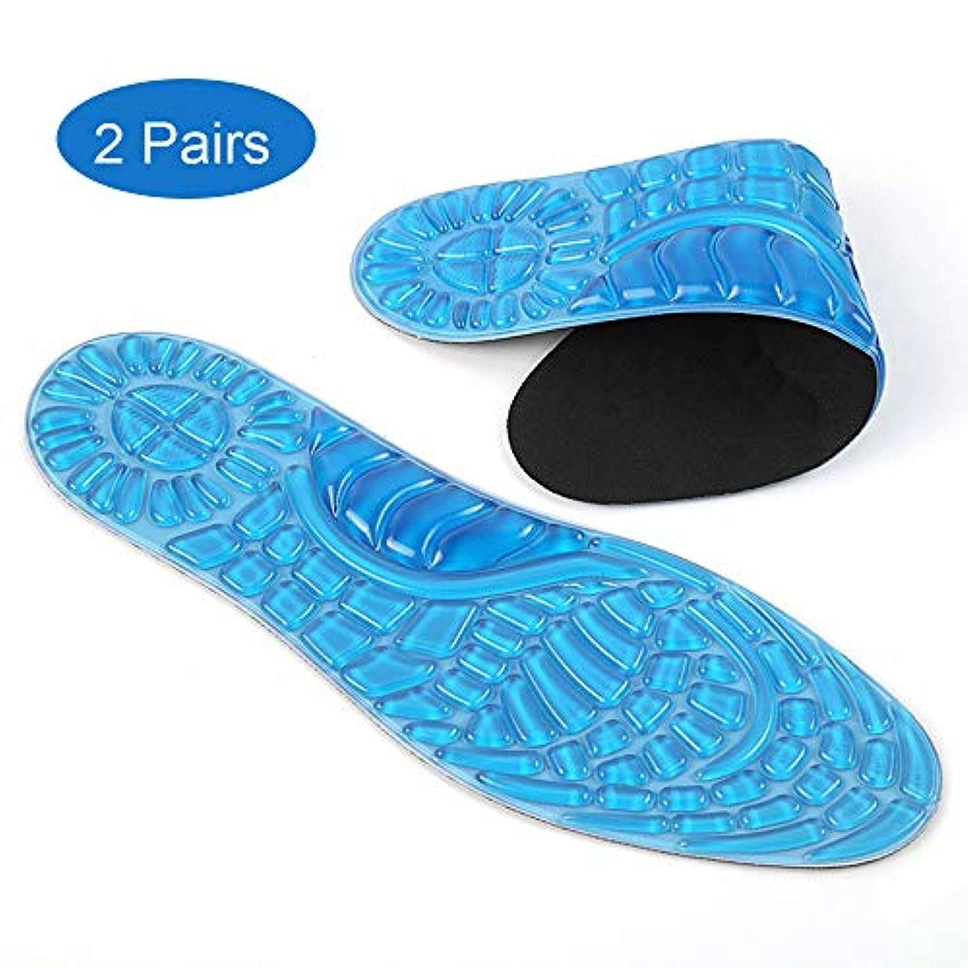 栄光革命的一時的スポーツ装具インソール2足、フットマッサージインソールは汗を吸収します柔らかく通気性があり、フィットネス、ランニング、テニスに適した足底圧を緩和します,S