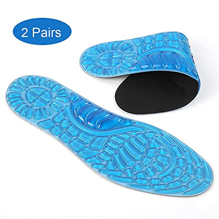 スポーツ装具インソール2足、フットマッサージインソールは汗を吸収します柔らかく通気性があり、フィットネス、ランニング、テニスに適した足底圧を緩和します,S