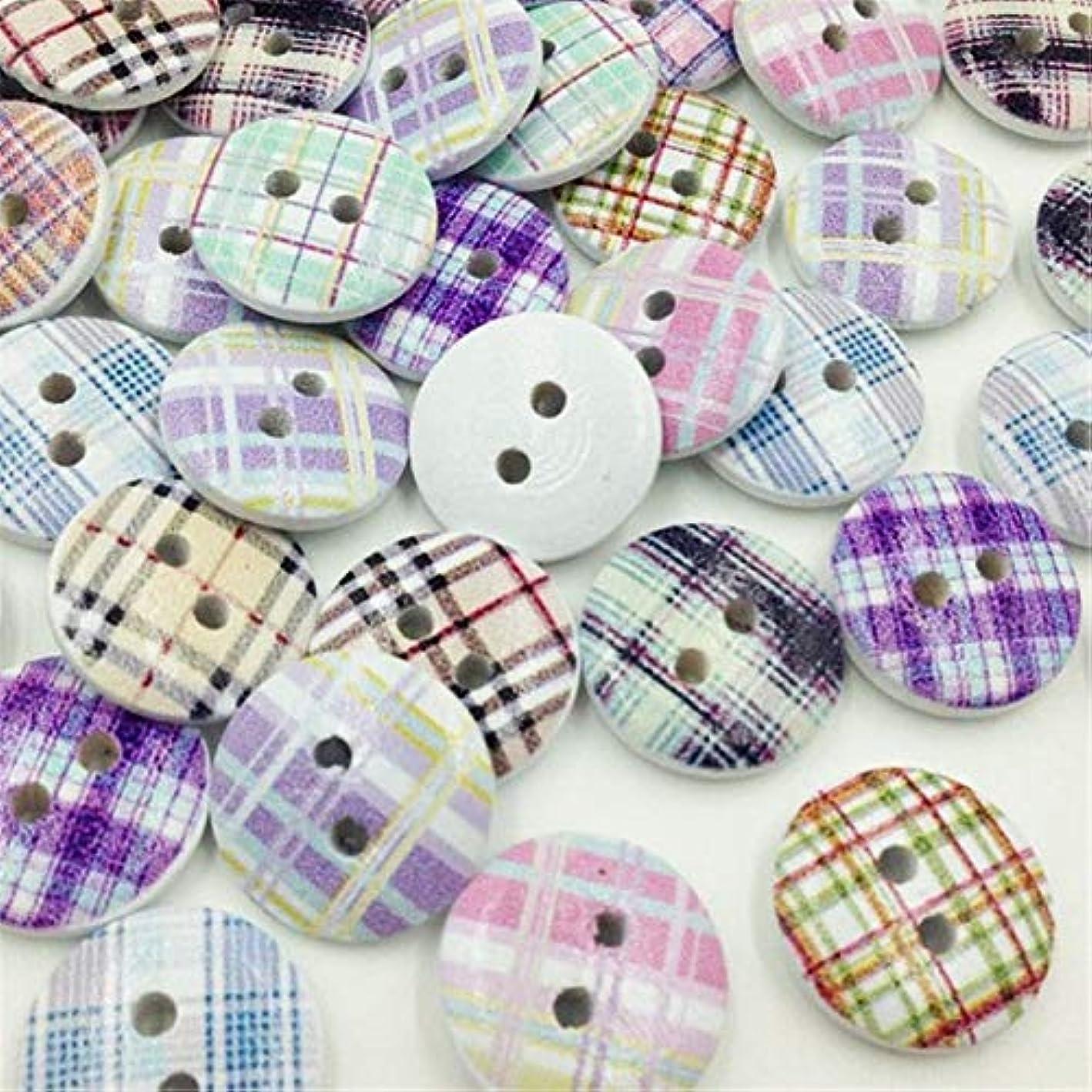 弱まる果てしないインポートPropenary - グリッドウッドボタン縫製子供のクラフトミックスロットスクラップブッキング