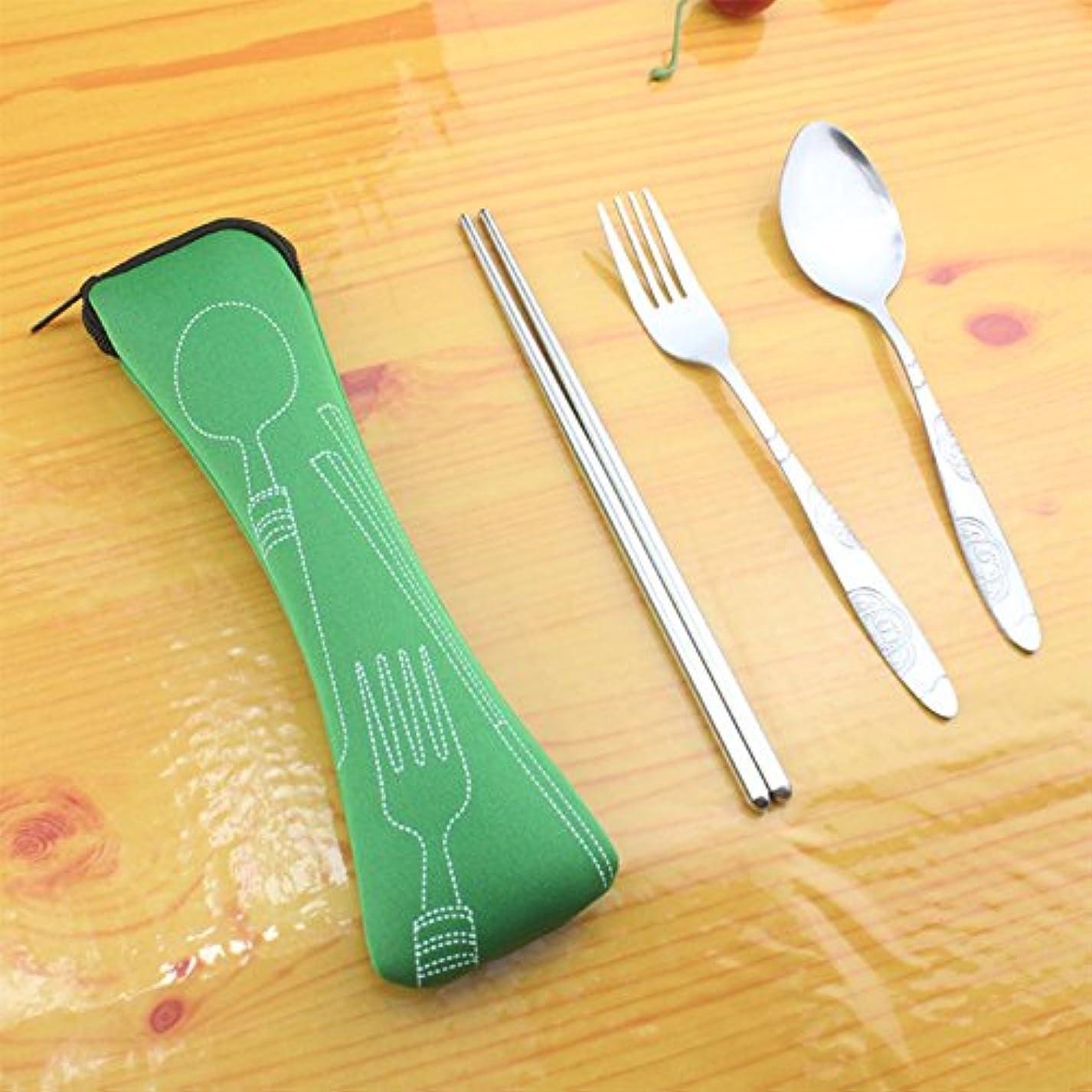 所属領収書明らかにするRaiFu ステンレス鋼食品カトラリーセットスプーン箸ポークポータブル 食器アクセサリー バッグ付き 3ピース/セット グリーン