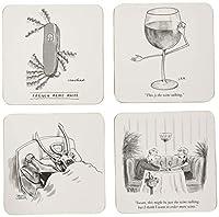The New Yorker–ワイン–ボックスセットof 4コースター