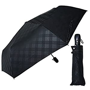 アイリスプラザ 折りたたみ傘(自動開閉) ブラック 55cm 自動開閉 耐風 エンボスチェック OSK-027
