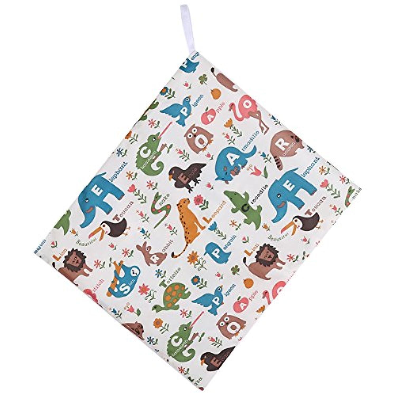 おむつポーチ おむつバッグ 防水ポーチ 布製 抗菌 消臭(动物字母)