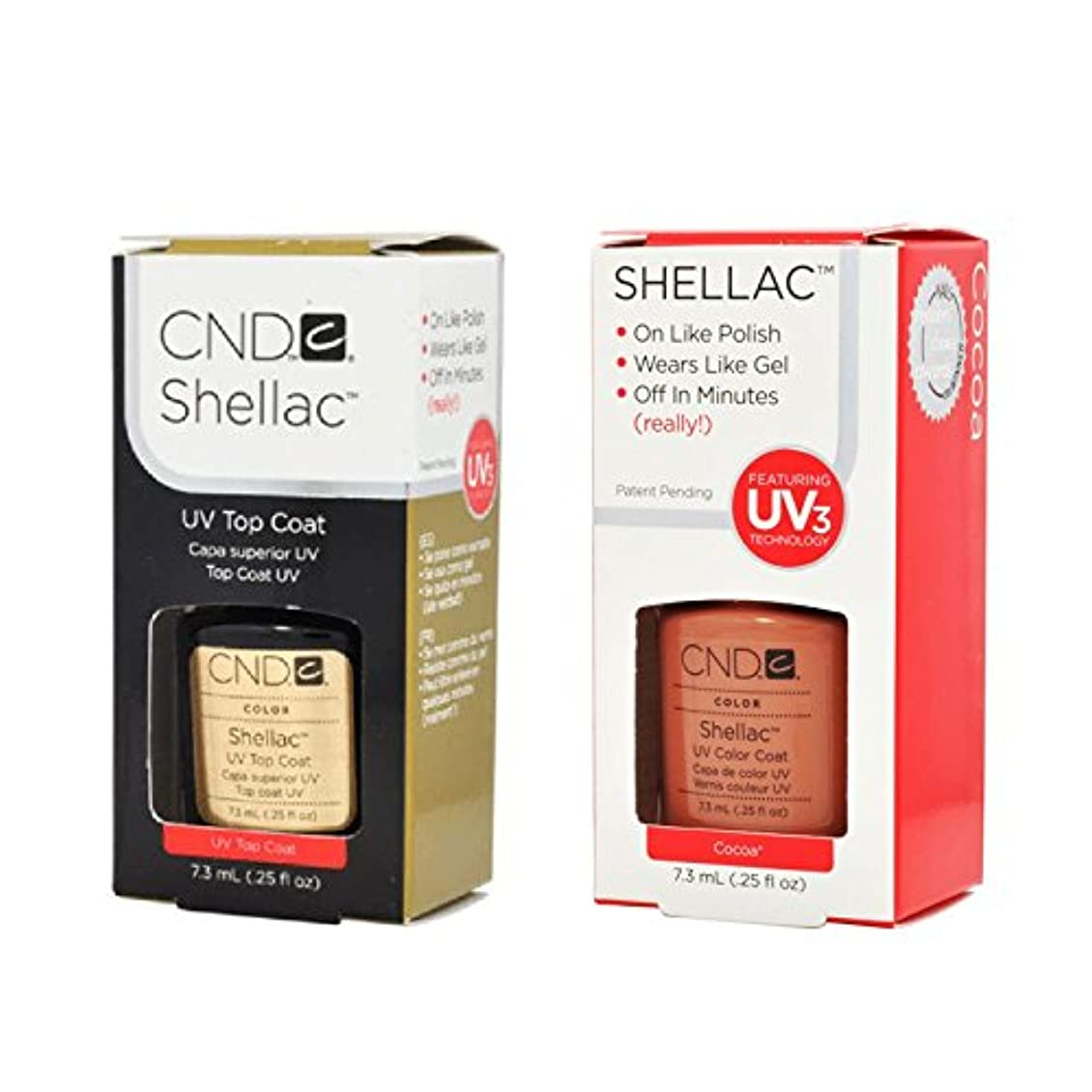 曲線記念碑的な領域CND Shellac UVトップコート 7.3m l  &  UV カラーコー< Cocoa > 7.3ml [海外直送品]