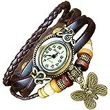 Leather Watch Weave Wrap Around Retro Bracelet Lady Woman's Wrist Watch by Boolavard® TM