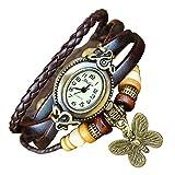 Boolavard® TM BUTTERFLY Quartz Fashion Weave Wrap around Leather Bracelet Women Wrist Watch