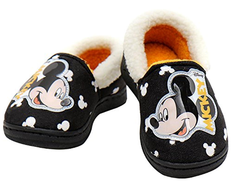 [ディズニー] DISNEY ミッキーマウス Mickey Mouse ボーイズ ブラック ファー スリッパ ルームシューズ [並行輸入品]
