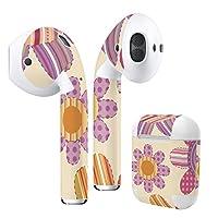 Air Pods 専用 デザインスキンシール airpods エアポッド apple アップル AirPods 第一世代(2016)airpods2 第二世代(2019)対応 イヤホン カバー デコレーション アクセサリー デコシール フラワー 花 ストライプ 000702