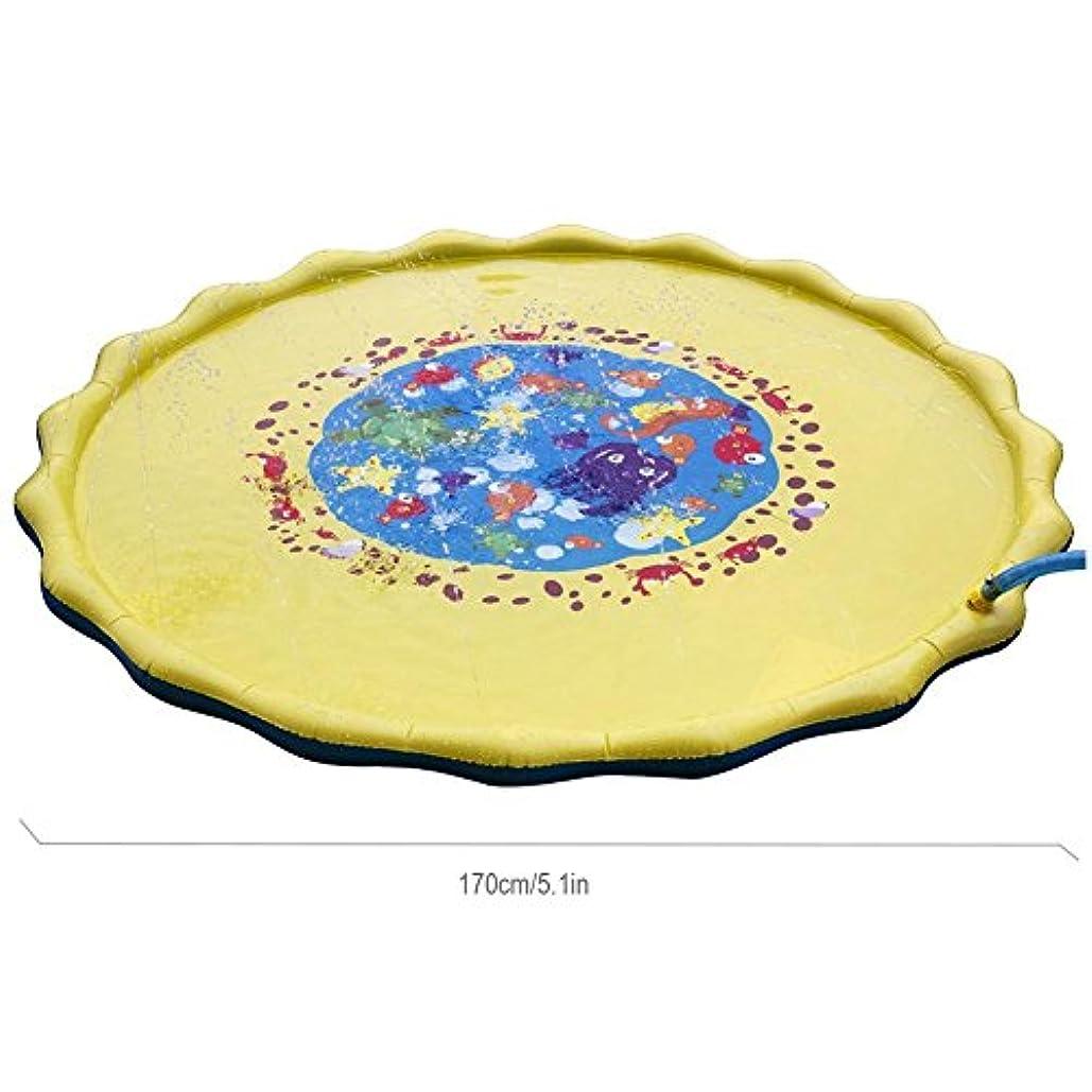 慣れているエミュレーションスマッシュ子供 噴水マット 噴水おもちゃ PVC 芝生遊び 水 夏の日 暑さ対策 親子遊び 膨らませるおもちゃ プレイマット 子供プレゼント アウトドア 67インチ