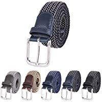 Belts For Man Elastic Band Casual Trousers Belts Buckle Multicolor Woven Men 's Belts Wish Gift Box