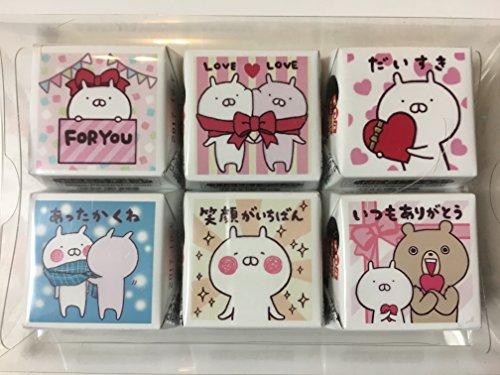 【バレンタイン義理チョコ・友チョコ】DECOチョコ メッセージ付きうさまるチョコ6個セットX3個。3種のうさまる紙バック付き。