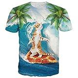 LeapparelTシャツ メンズ レディース ピザ 猫柄 3Dプリント デザイン フィットネス  ダンス クルーネック 半袖シャツ ファッション 半袖トップス