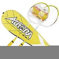 黄色のバドミントンラケット2人用のセット屋外スポーツフィットネスパッケージは3バドミントンとキャリングケースが含まれています