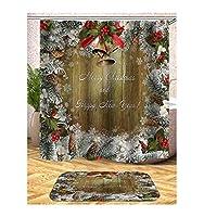 Adisaer カフェカーテン お風呂場 シャワー カーテン クリスマスツリーパターン 【約165x180cm】 間仕切り おしゃれ 取付簡単 リング付属 バスルーム カーテン
