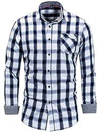 maweisong メンズフランネルチェックアウトスリムフィットロングスリーブボタンダウンドレスシャツ