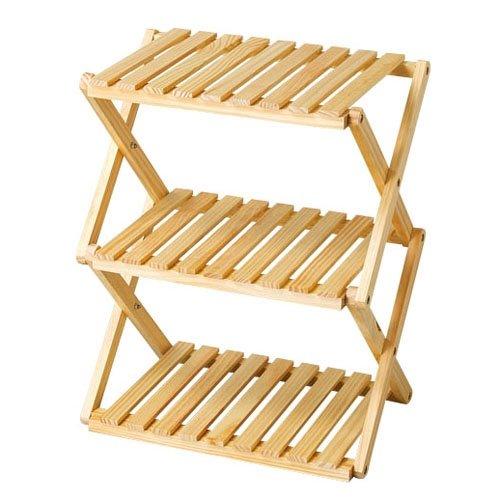 コーナン オリジナル コーナンラック 折り畳み式木製ラック W460(3段) ナチュラル 3段(約幅46X奥行30X高...