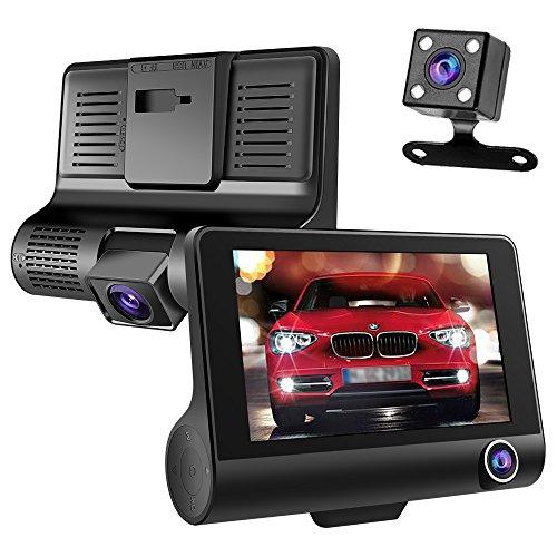 Genios ドライブレコーダー 車載カメラ 三カメラ搭載 車内/車外同時録画 4.0インチ 1080PフルHD 170度広角レンズ 800万画素 Gセンサー ビデオカメラ ループ録画 駐車監視 動き検知 黒