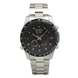 [エルジン]ELGIN 腕時計 メンズウォッチ 電波 ソーラー ワ-ルドタイム 100M防水 レッドインデックス ブラック FK1395S-BP メンズ