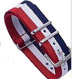 ノーブランド NATOタイプ  ベルト ナイロン (ネイビー・ホワイト・ レッド・ホワイト : 18mm )  腕時計 替えバンド ストラップ