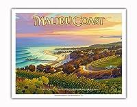 マリブ・コースト・ワイナリー - サンタモニカ・マウンテンズ - サウスコーストAVAブドウ園 - カリフォルニアワインカントリーアート によって作成された カーン・エリクソン - アートポスター - 28cm x 36cm