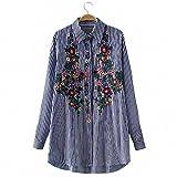 レディース ブラウス フラワー刺繍シャツLadyストライプシャツ襟カラー長袖シャツ