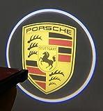 【SW】 王者見参! ポルシェ 汎用 ロゴ LED ウェルカム ドア ランプ Porsche イルミ カーテシ ライト (ブラック 黒)