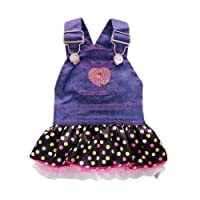 Petpartyテつョ Sweet Heart Sequins Denim Dog Dress Dog Clothes, XS by Petparty