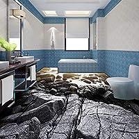 Wxmca カスタム海岸浅瀬ビーチ石水3Dステレオバスルームの床の壁紙壁画家の装飾-200X140Cm