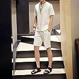 「YOHO」(ヨーホー)麻 Vネック Tシャツ メンズ 半袖 無地 おしゃれ カットソー シャツ 半袖tシャツ メンズファッション