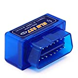 Borison Elm327 OBD2 Obd2 Eobd Bluetooth故障診断機 ブルートゥース エンジン 故障コードリーダー コードリーダー コードスキャナー エラーコードクリア スキャンツール Android/Tablet PCに対応 (青い)