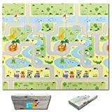 Fun N Well Foldable XPE Baby Play Mat | King Size 197x178x1cm | Non Allergenic & Non Toxic Foam | Waterproof & Reversible Free Carry Bag for Easy Travel & Storage (Animal Park/Lucky Star)