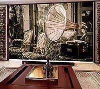 Mbwlkj ヴィンテージ壁紙蓄音機写真の壁紙壁画3Dのリビングルームの寝室の自己接着壁紙-200cmx140cm