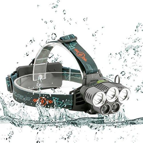 LEDヘッドライト SGODDE 超高輝度10000ルーメン 充電式 防水仕様 18650 5灯式 5段階の点灯モード 登山 夜釣り アウトドア作業 SOSフラッシュ機能