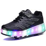 LED スニーカー 子供用 ローラーシューズ 2輪 発光光る靴 ジュニア 誕生日プレゼント 運動靴 ボーイズ ガールズ