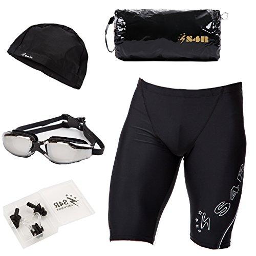 S4R(エスフォーアール) メンズ 競泳水着 5点セット 水着 ゴーグル スイムキャップ スポーツバッグ 耳栓 鼻栓 高品質 フィットネス水着 モデル (White, M)