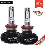 OPPLIGHT H11 LED ヘッドライト ファンレス 車検対応 H8 H9 H16 LED フォグランプ 高輝度 ホワイト 4000LM 30W 6500K 一体型 配線不要 2年保証 日本語取扱書 2本セット 12V車用 H8/H11/H16