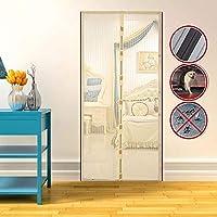 """耐久性のある磁気スクリーンドア、蚊スクリーンドアソフトカーテンドア、換気通気性ドアの切り欠きマグネットスクリーンドア、家庭用マジックグルー,Beige,37.5*86.6"""""""