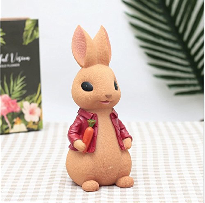 HuaQingPiJu-JP かわいいラッキーラビットマネーバンクドレスウサギマネーボックスレジン学生ギフト(小さな赤い服)