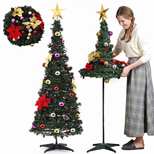 被せて完成 LED付き クリスマスツリー 組立 3ステップ 折り畳み式 ツリー 175㎝ (175cm)